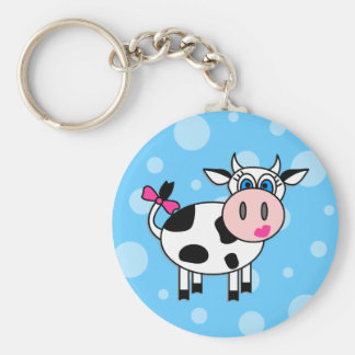 Happy Girl Cow Basic Round Button Key Ring