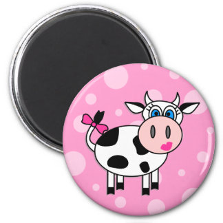 Happy Girl Cow Magnets