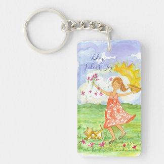 Happy Girl Dog Today I Choose Joy Inspirational Key Ring