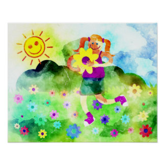 Happy Girl on a Sunny day Poster