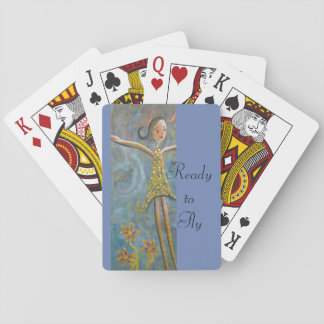 happy girl playing cards