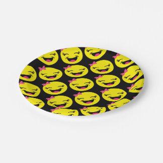 Happy Girly Emoji 7 Inch Paper Plate