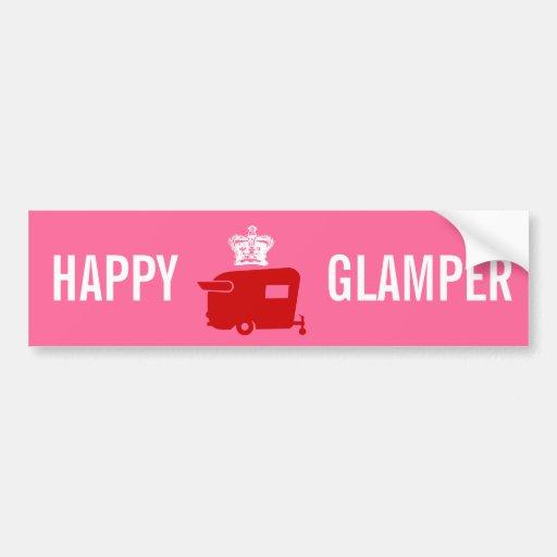 Happy Glamper - RV - Travel Trailer Humor Bumper Stickers