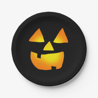 Happy Glowing Jackolantern Face Paper Plate