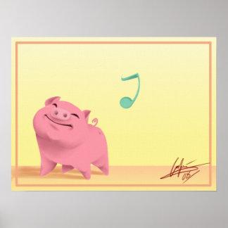Happy go lucky piggy! poster