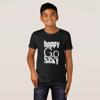 Happy-Go-Lucky Quote Black White Typography T-Shirt