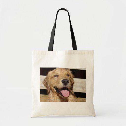 Happy Golden Retriever Tote Bag