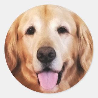Happy Golden Retriever! Classic Round Sticker