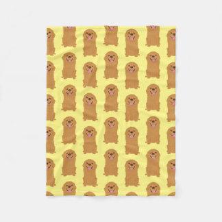 Happy Golden Retriever Illustration Fleece Blanket