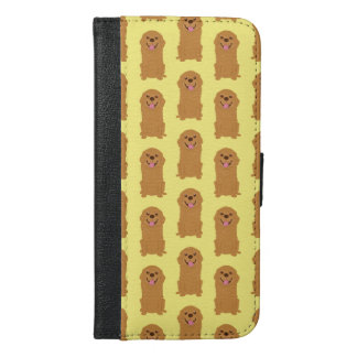 Happy Golden Retriever Illustration iPhone 6/6s Plus Wallet Case