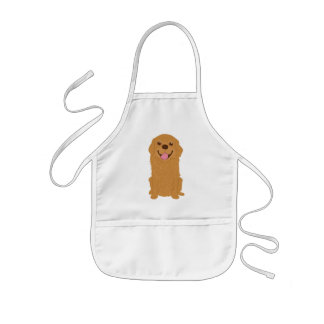 Happy Golden Retriever Illustration Kids Apron