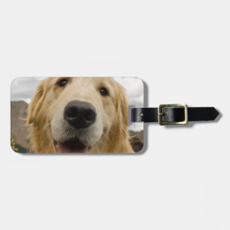 Happy Golden Retriever Luggage Tag