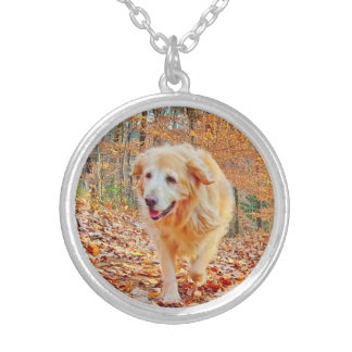 Happy Golden Retriever Silver Plated Necklace