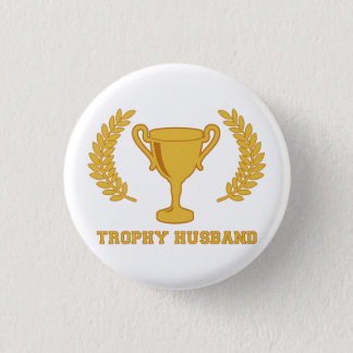Happy Golden Trophy Husband 3 Cm Round Badge
