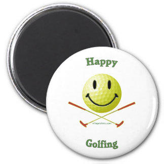 Happy Golfing Smiley Golf Ball Refrigerator Magnet