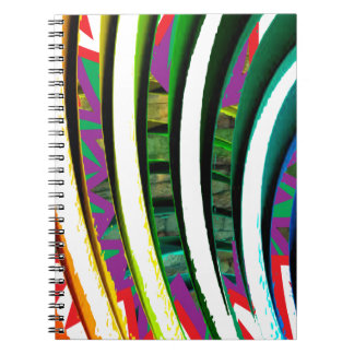 Happy Goodluck Waves n Lines Graphics art gifts Spiral Notebook