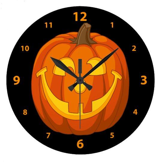 Happy Goofy Jack O Lantern Halloween Pumpkin Face Large Clock