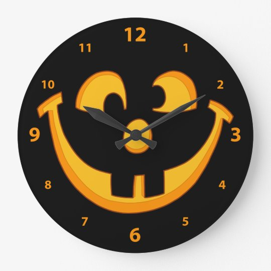 Happy Goofy Jack O Lantern Halloween Pumpkin Face Large Clock