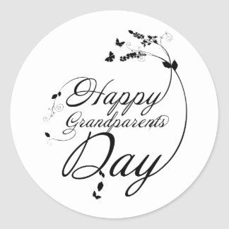 Happy grandparents day classic round sticker