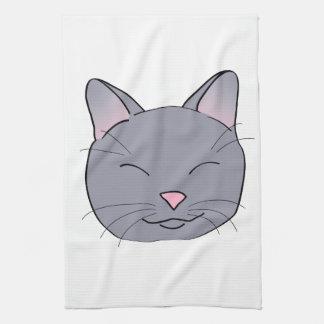 Happy Gray Cat Tea Towel