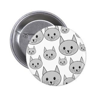 Happy Gray Cats Button