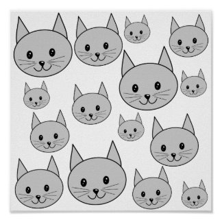 Happy Gray Cats. Poster