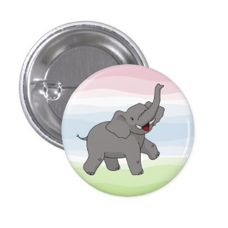 Happy Gray Elephant Button