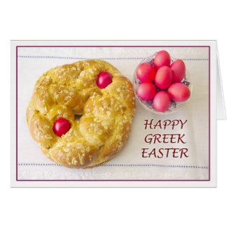 Happy Greek Easter With Tsoureki Bread Card