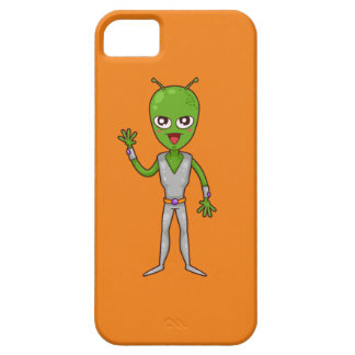 Happy Green Alien with Antennae/Antennas Waving Cover For iPhone 5/5S