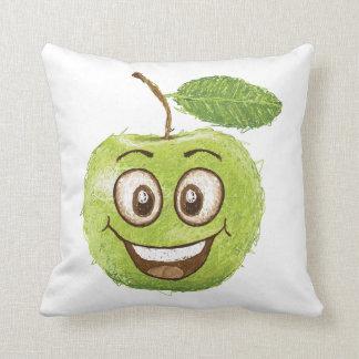 happy green apple cushion