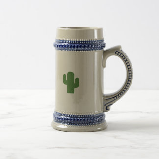 Happy green cactus in pink summer beer stein
