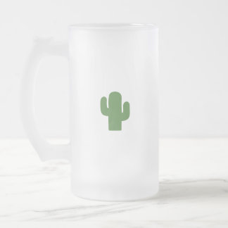 Happy green cactus in pink summer frosted glass beer mug
