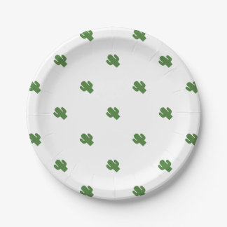Happy green cactus in pink summer paper plate