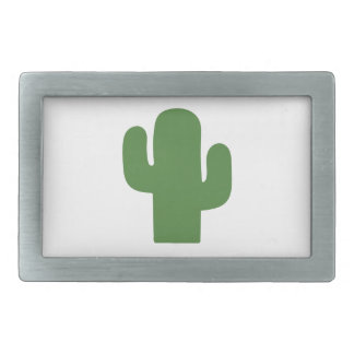 Happy green cactus in pink summer rectangular belt buckle