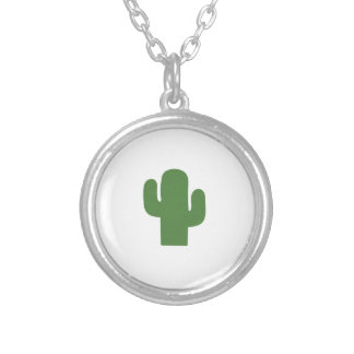 Happy green cactus in pink summer silver plated necklace