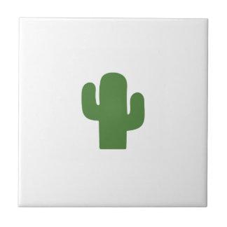 Happy green cactus in pink summer tile