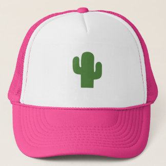 Happy green cactus in pink summer trucker hat