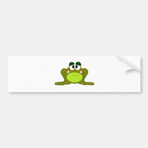 Happy Green Cartoon Frog Bumper Stickers