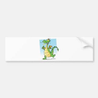 Happy Green Fire Breathing Dragon Dancing Bumper Sticker