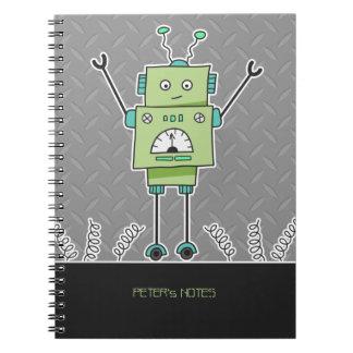 Happy Green Robot & Metal Springs Notebook