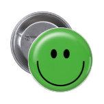 Happy green smiley face pinback button