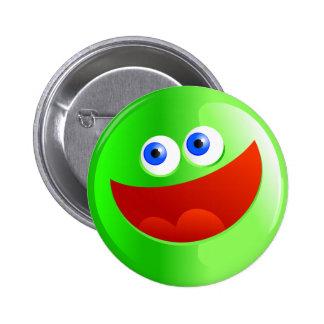 Happy Green Smilie 6 Cm Round Badge