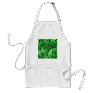 HAPPY GREEN SMILIE FACES CIRCLES LAYERED PATTERN W APRONS