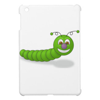 Happy Green Smiling Cartoon Worm with Brown Eyes iPad Mini Case