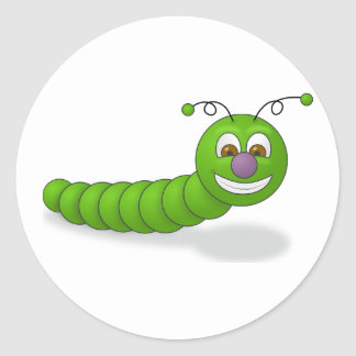 Happy Green Smiling Cartoon Worm with Brown Eyes Round Sticker