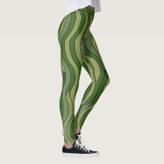 HAPPY GREEN SNAKES by Slipperywindow Leggings