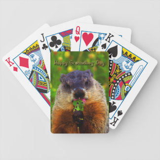 Happy Groundhog Day Eating Flower Bicycle Playing Cards