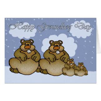 Happy Groundhog Day, Groundhog family Card