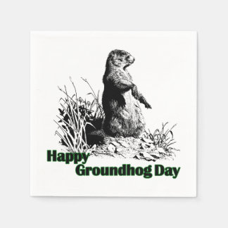 Happy Groundhog Day Party Paper Napkins Disposable Serviette