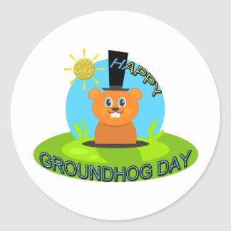 Happy Groundhog Day Sunshine Classic Round Sticker
